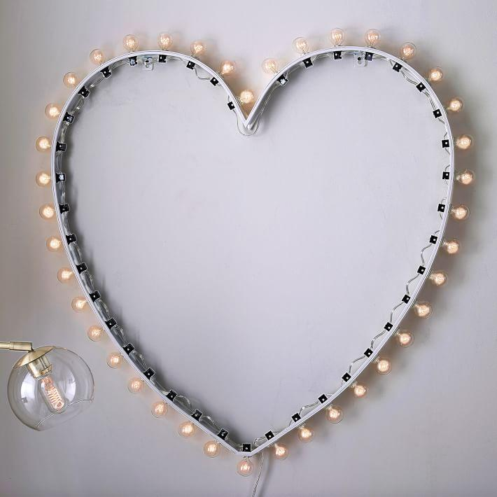 Metal Heart Marquee Wall Light Decor