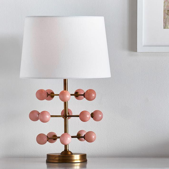 Pink Crystal Ball Brass Table Lamp