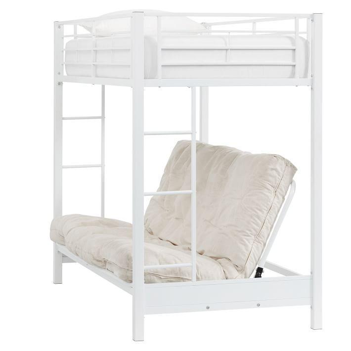 Ellis White Metal Futon Loft Bunk Bed