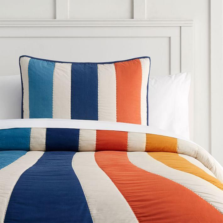 Retro Bold Striped Orange Blue Bedding