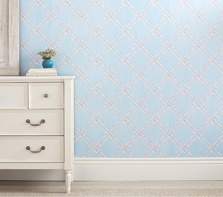 Blue Bamboo Peel And Stick Diamond Pattern Wallpaper