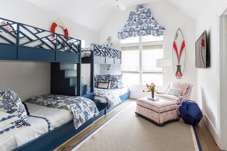 Blue Boys Bunk Room with White and Blue Toile Bedding - Cottage