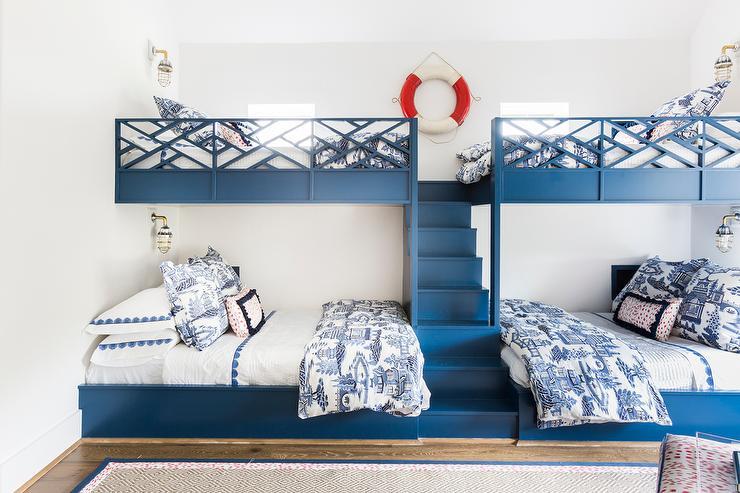 Blue Bunk Beds With Lattice Safety Rails Cottage