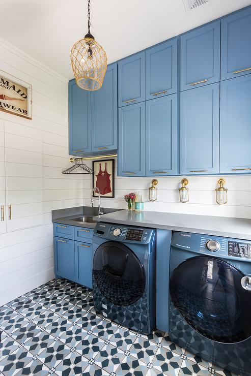 Blue Laundry Room Cabinets With Black And White Mosaic Hex
