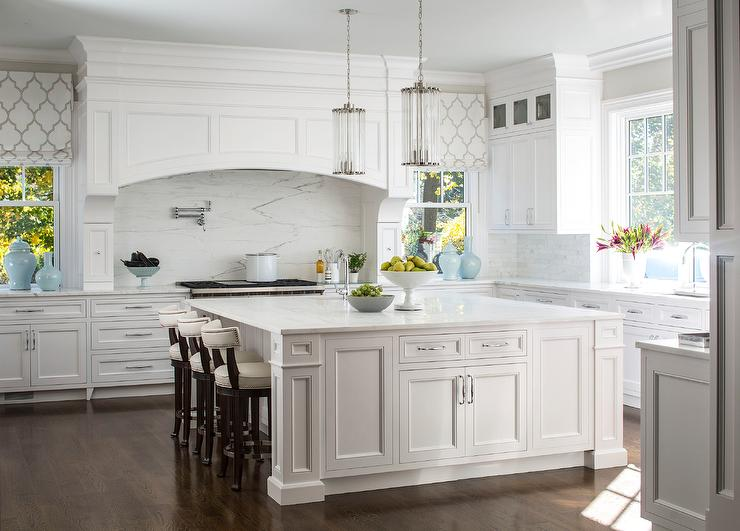 Glass Fluted Lights Over Oversized Kitchen Island