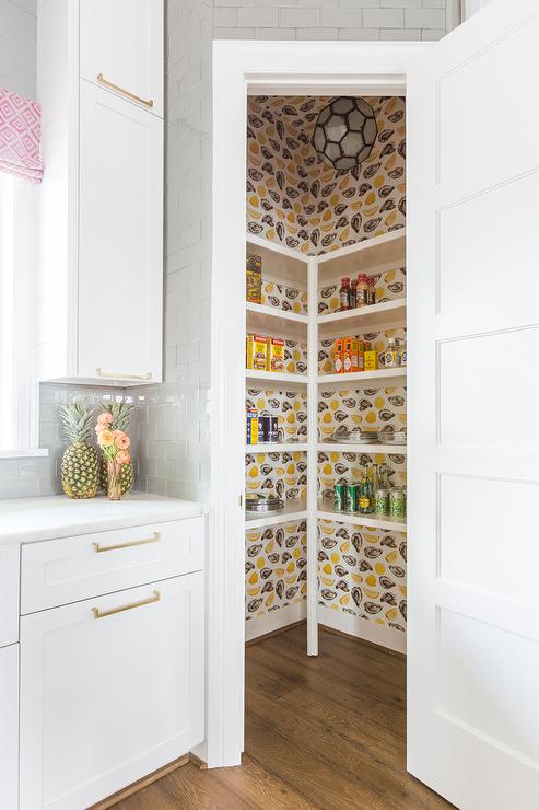Kitchen Pantry With Oyster And Lemon Print Wallpaper Transitional