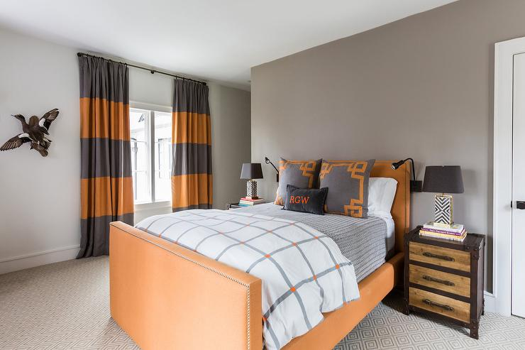 Gray and Orange Boys Room Colors - Transitional