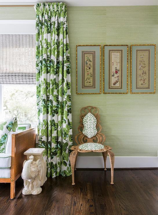 Super Light Green Bedroom With Palm Print Curtains Transitional Download Free Architecture Designs Pushbritishbridgeorg