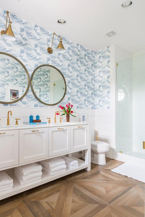 White And Blue Boys Bathroom With Wood Like Parquet Floor Tiles