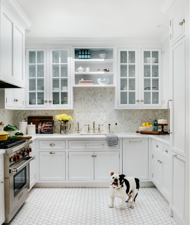 U Shaped Kitchen With White Hexagon Floor Tiles