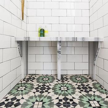 Green Subway Tile Shower Contemporary Bathroom