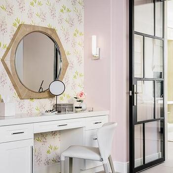 Monogrammed Slipcover Makeup Vanity Chair Transitional