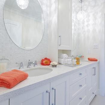 Gray Bathroom With Orange Accents Design Ideas