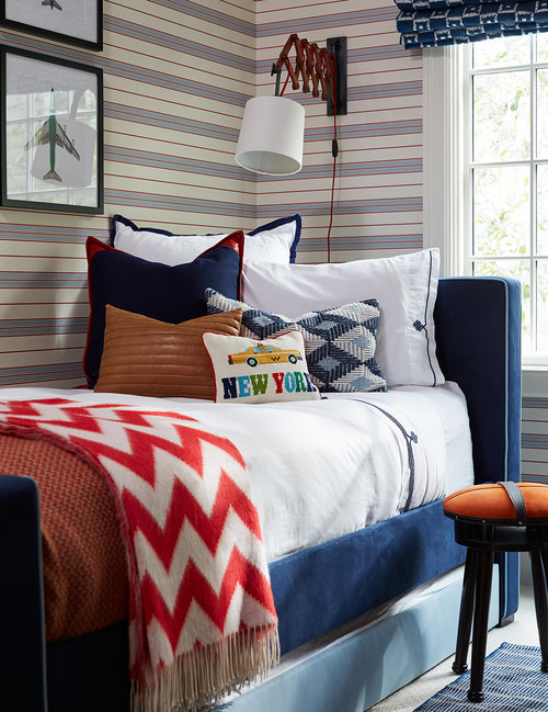 mesmerizing modern white red blue bedroom ideas boys | Red and Blue Boys Bedroom with Navy Monogram Headboard ...