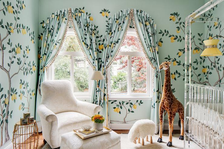 Whimsical Nursery With Lemon Tree Wallpaper Transitional