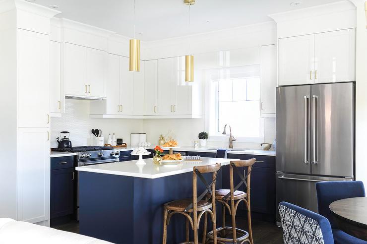 Gold Lights Over Blue Kitchen Island Transitional Kitchen