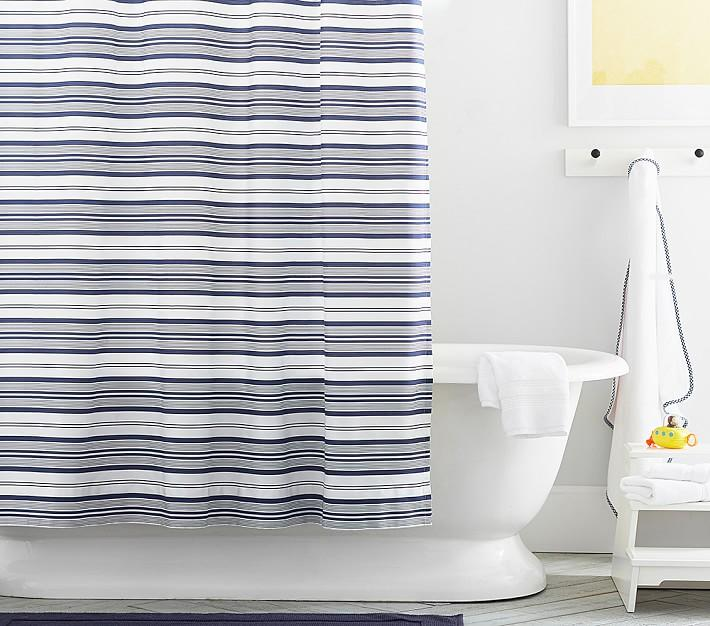 Nautical Navy White Striped Shower Curtain