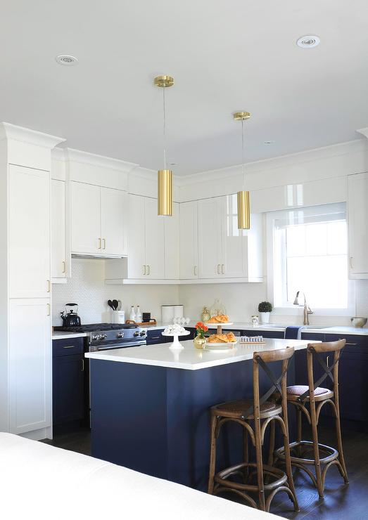 white and blue kitchen with gold accents - transitional
