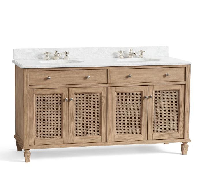 Sausalito Cane Doors Wood Double Bath Vanity