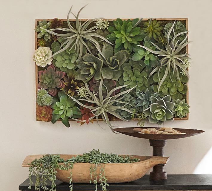 Faux Succulent In A Wood Box Wall Art
