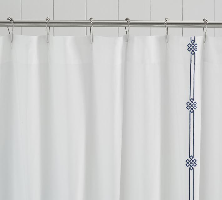 Emilia Embroidered Navy Lattice White Shower Curtain
