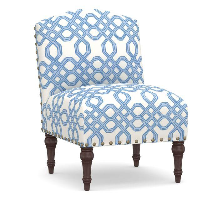 Pleasing Monroe Blue Lattice Nailhead Slipper Chair Creativecarmelina Interior Chair Design Creativecarmelinacom