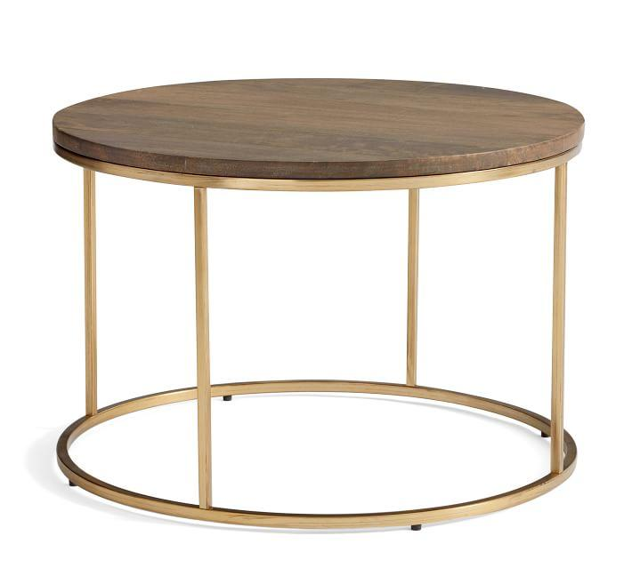Delaney Round Wood Top Brass Coffee Table