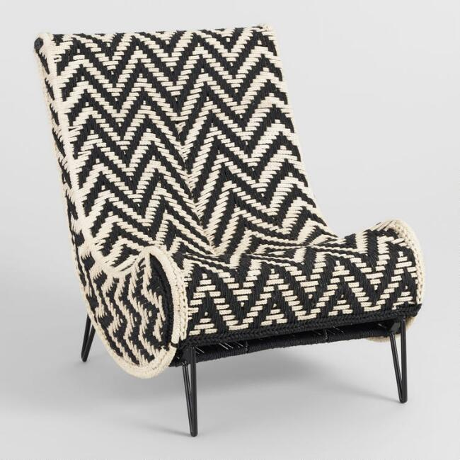 Brilliant Chindi Black White Chevron Hairpin Slipper Chair Short Links Chair Design For Home Short Linksinfo