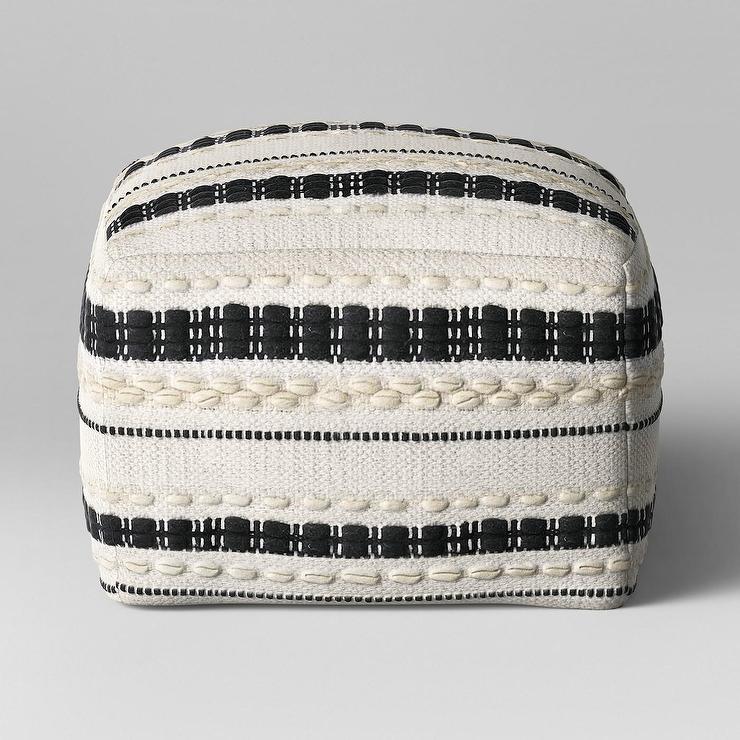 Opalhouse Lory Black White Woven Striped Pouf Gorgeous Make Your Own Pouf Ottoman