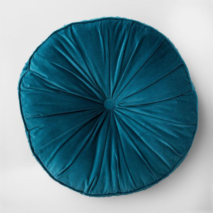 Opalhouse Round Teal Velvet Button Tufted Floor Pillow
