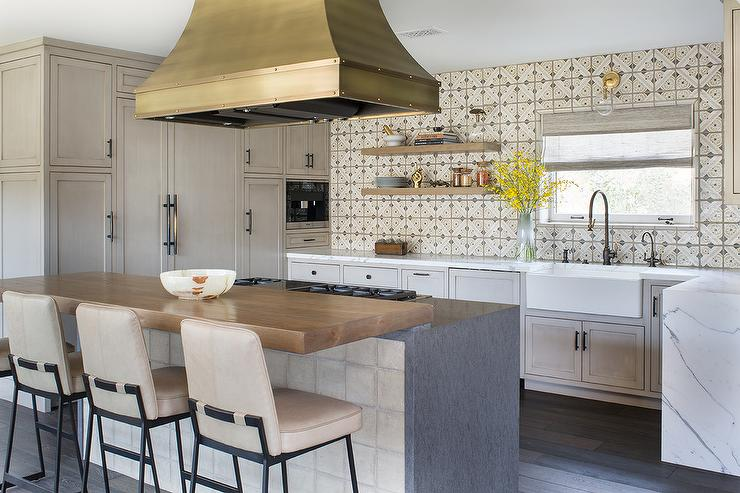 Brass French Range Hood Over Kitchen Island - Transitional ...