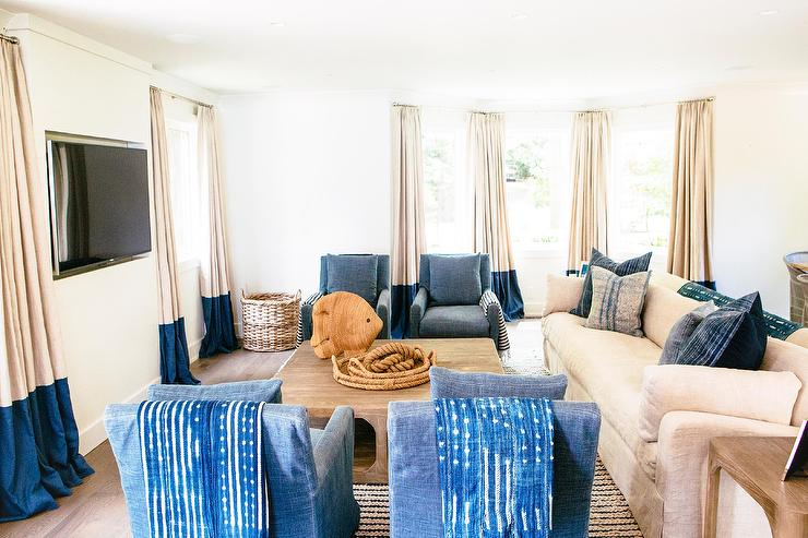 Blue Cottage Living Room With Wainscoting