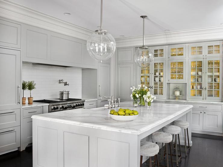 Brilliant Light Gray Kitchen With Long White Gray Backsplash Tiles Download Free Architecture Designs Embacsunscenecom