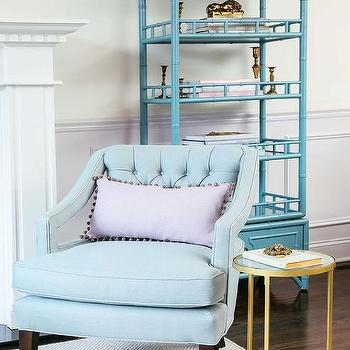 Blue Bamboo Etagere With Light Gray Wainscoting