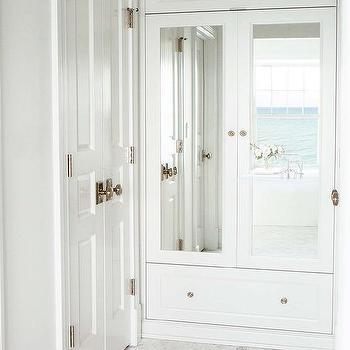 Glossy White Bifold Bathroom Closet Doors