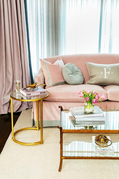 Blush Pink Velvet Sofa With Pink And Gray Pillows Transitional