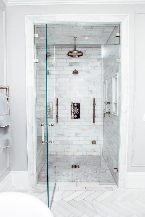 Beau Staggered Honed Marble Shower Tiles