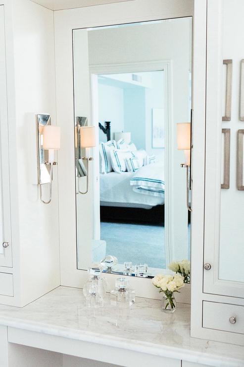 White Marble Top Makeup Vanity With, Built In Bathroom Cabinet Mirror