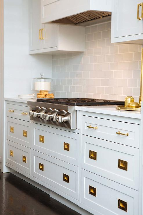 Vintage Brass Inset Pulls On White Shaker Drawers Transitional