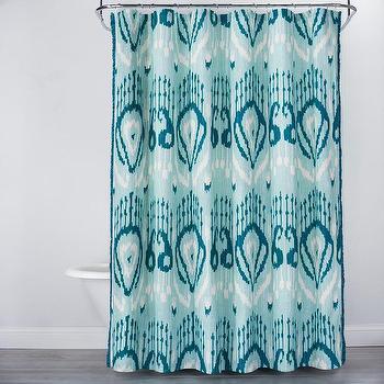 Opalhouse Teal Blue Ikat Pattern Shower Curtain