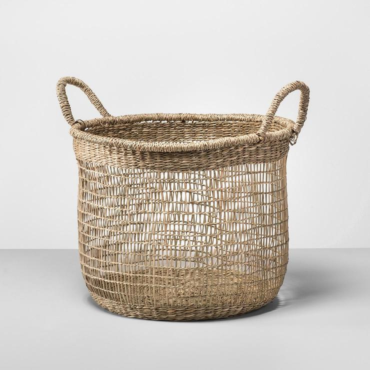 woven seagrass baskets with handles decorative storage boxes.htm opalhouse round natural seagrass open weave basket  opalhouse round natural seagrass open