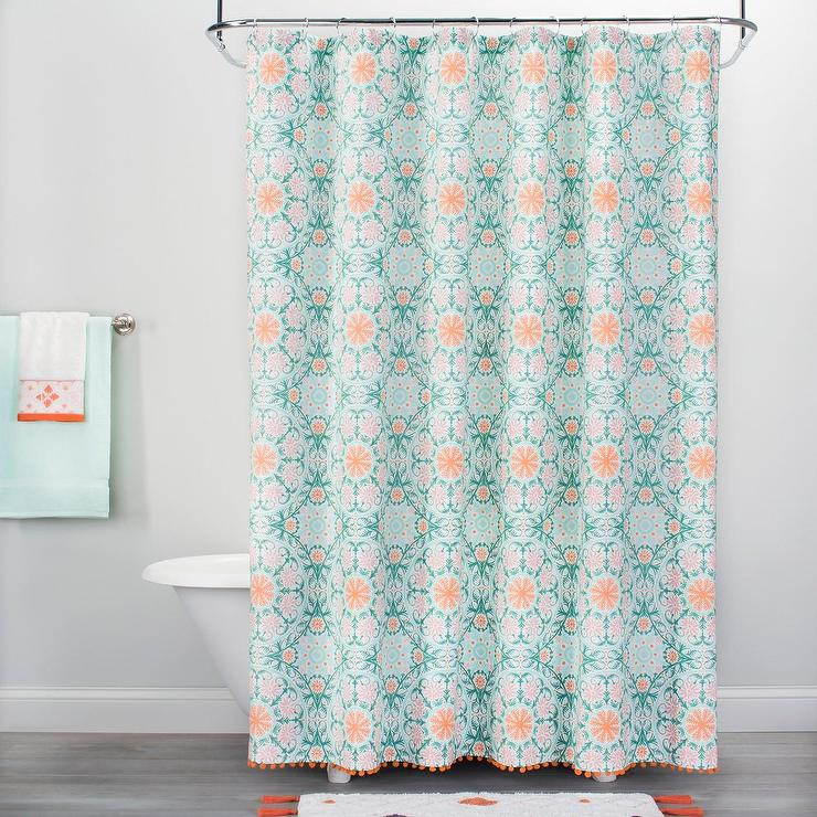 Vapor Green Orange Medallion Pom Fringe Shower Curtain