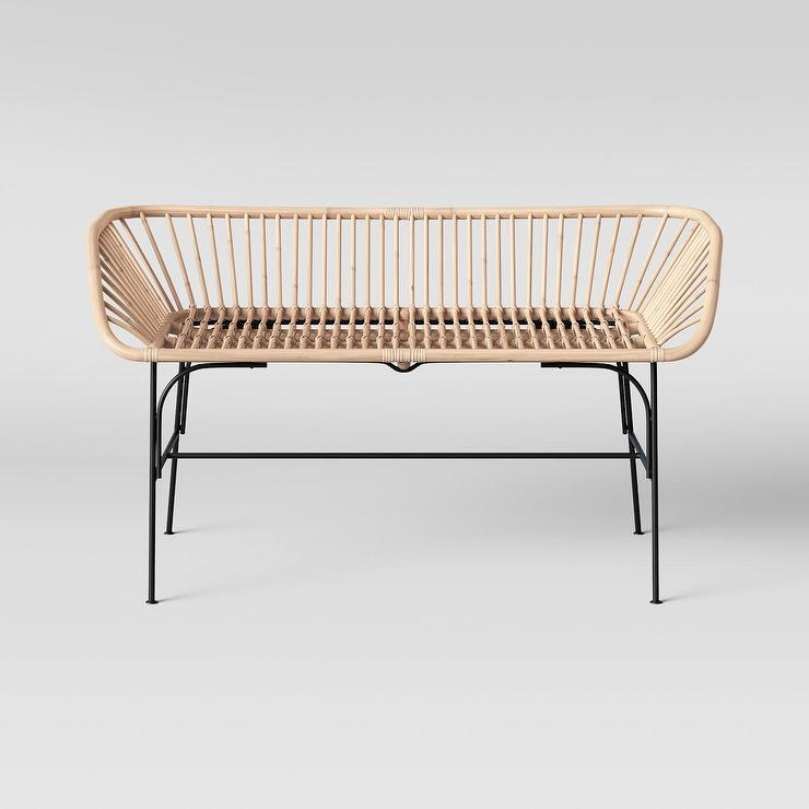 Outstanding Opalhouse Lupini Curved Rattan Black Metal Bench Caraccident5 Cool Chair Designs And Ideas Caraccident5Info