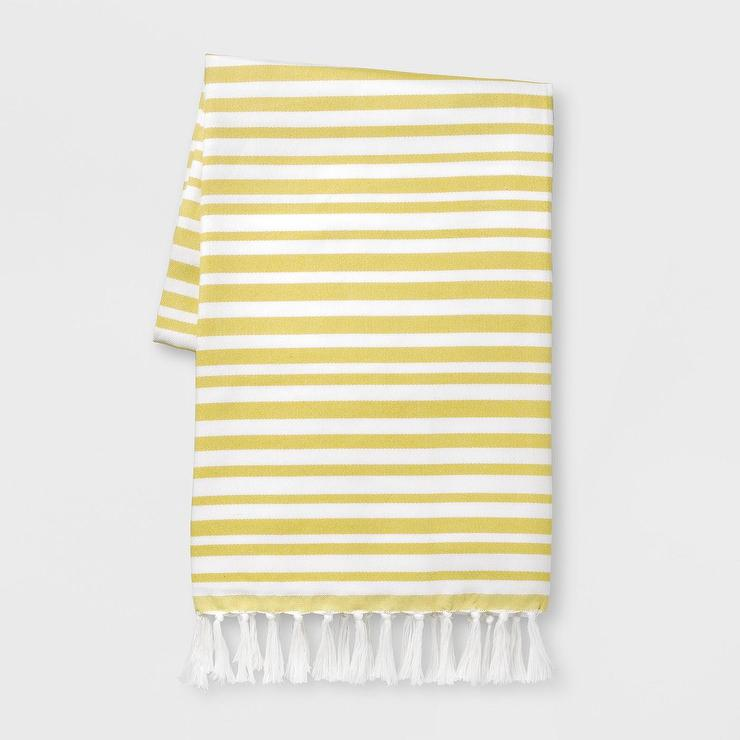 Opalhouse Yellow White Striped Tassels Outdoor Blanket
