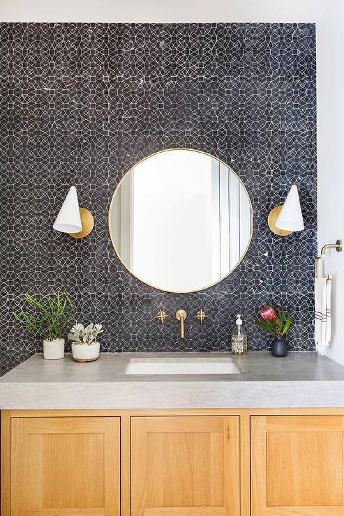 Black Mosaic Bath Wall Tiles Transitional Bathroom