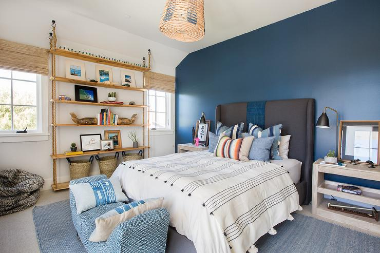 Blue Bedroom With Gray Open Bedside Tables Transitional