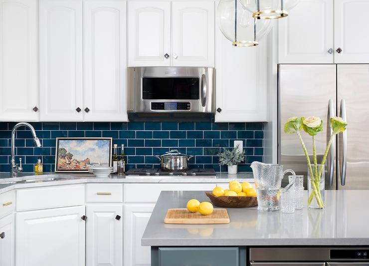 Dark Blue Subway Tiles with White Cabinets & Dark Blue Subway Tiles with White Cabinets - Transitional - Kitchen