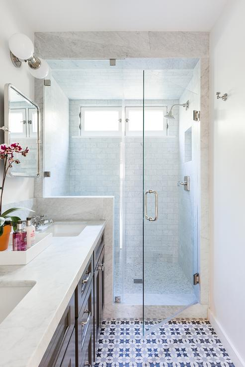 Long Bathroom With White Blue Gray Mosaic Tiles