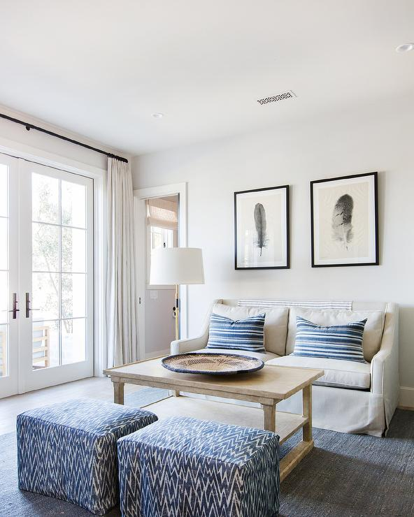 Eric Roseff Design: Blue Cottage Living Room With Wainscoting