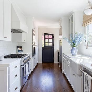 Butcher Block Countertop Hardwood Floor Galley Kitchen